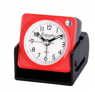 Wecker Reisewecker Alarm Analog Snooze Kunststoff rot eckig mit Schutzkappe