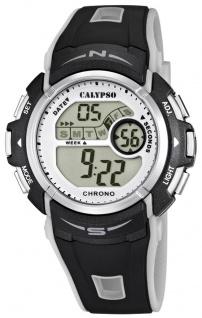 Calypso Herrenarmbanduhr Quarzuhr Kunststoffuhr digital mit Stoppfunktion Alarm Timer schwarz/grau K5610/8