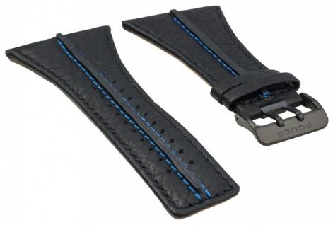 Police Tripod Ersatzband Leder schwarz mit blauen Naht für P13497JSB-02A