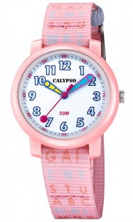 Calypso Kinderarmbanduhr rosa Quarz Analog Textilband Ø 32 K5811/1