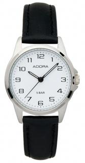 Damenuhr Armbanduhr Analoguhr Edelstahluhr mit Lederband Adora 29400