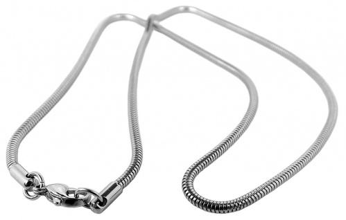 Schmuck Schlangenkette Edelstahlcollier mit Karabinerverschluss silberfarben Ø 2, 5mm 34382