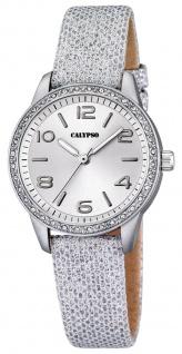 Calypso Damenarmbanduhr Quarz Kunststoff Leder/Textilband Glitzersteinchen K5652