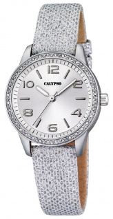 Calypso Damenarmbanduhr Quarzuhr Kunststoffuhr mit Leder/Textilband und Glitzersteinchen analog K5652