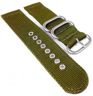 HIRSCH | Uhrenarmband > Textil, oliv > Zulu Band mit Dornschließe | gleichlaufend | 36662