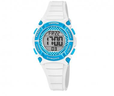 Calypso Kinderarmbanduhr weiß/blau Quarzuhr Digitaluhr Kunststoff Band K5756/1
