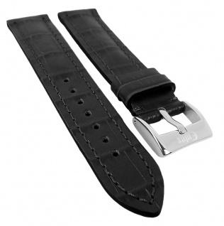 Minott | Uhrenarmband Kalbsleder mit Kroko Print und schwarzer Schnittkante, seidenglänzend 29980