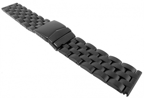 Minott Uhrenarmband Edelstahl Band massiv schwarz 29477