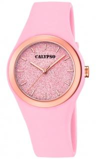Calypso Damenuhr analog rosa Kunststoff Armbanduhr Uhr PU-Band Quarzuhr K5755/3 K5755