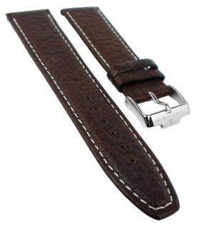 Jacques Lemans Ersatzband | Leder Band, braun mit heller Naht / silberfarbene Schließe für 1-1120