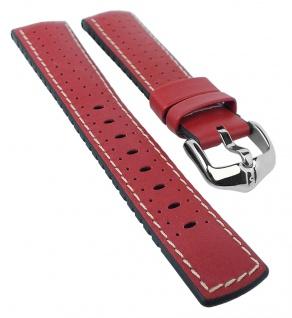 HIRSCH Performance L | Uhrenarmband aus Leder/Kautschuk schwarz/rot perforiert 30963S