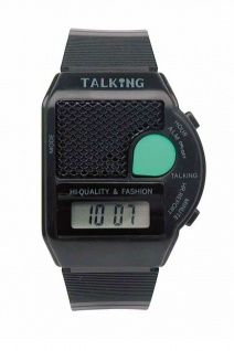Sprechende Armbanduhr | Quartz-Uhr aus Kunststoff | mit Weckfunktion | Digital
