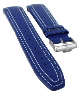 Jacques Lemans UEFA U-40C Ersatzband 24mm Leder blau weiße U-39 U-40 U-41