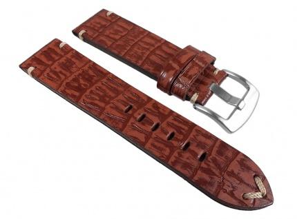 Ersatzband Antik-Optik Uhrenarmband Leder braun, Kroko Prägung 24935S /P