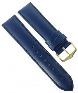 HIRSCH | Uhrenarmband > Leder, blau mit Naht > Dornschließe | Standard-Länge | 36445