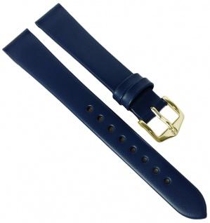 HIRSCH | Uhrenarmband > Leder, blau ohne Naht > Dornschließe | Kurze-Länge | 36504