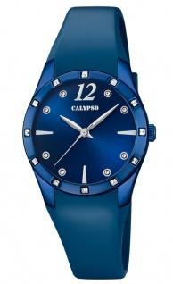 Calypso Damenarmbanduhr Quarz analog PU-Band blau Steinchenbesatz K5714/5