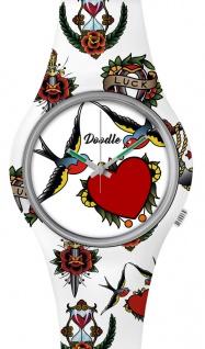 DOODLE WATCH Armbanduhr für SIE Ø 39mm Silikonband > Schwalben & Herzen DOTA002