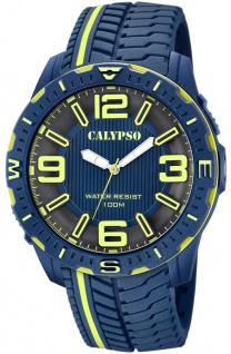 Calypso Herrenuhr analog PU-Band Armbanduhr blau Kunststoff Uhr Quarzuhr K5762/4 K5762
