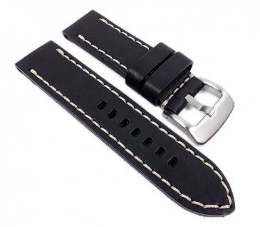 Barington Aeronautica Uhrenarmband Fliegerband Optik Leder schwarz 22mm 21561S