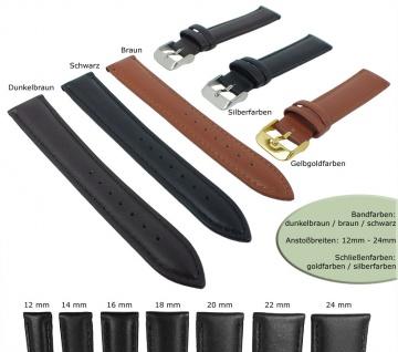 Uhrenarmband Minott | weiches Lederband gepolstert mit Naht 28710