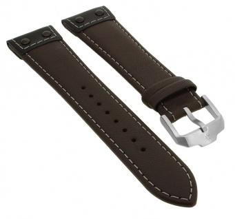 Junghans Meister Pilot Chronoskope Uhrenarmband 22mm Leder braun mit Naht 027/3591