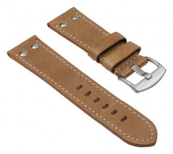 Uhrenarmband Vintage Look Leder Band Hellbraun 25835S