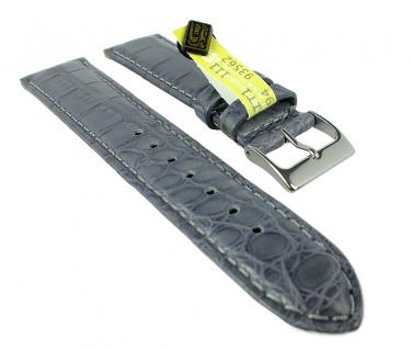 Herzog Echt Alligator Ersatzband 22mm Uhrenarmband Leder Band grau IRV Zertifikat handgenäht