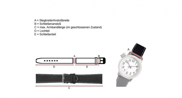 "Uhrenarmband "" Echt Krokodil"" Krokodilleder Band Schwarz mit Naht 25899S-H - Vorschau 2"