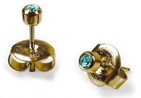STUDEX Erstohrstecker Ohrschmuck Stecker Ø 4mm aus Edelstahl mit Steinimitation Blau 100 % Steril 23848