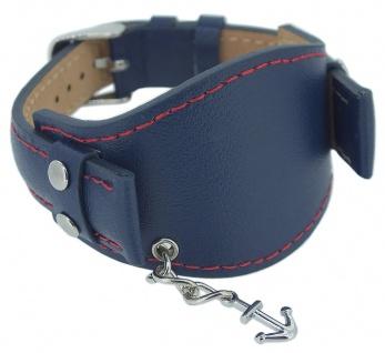s.Oliver Ersatzband 16mm Leder blau Leder Kontrastnaht SO-2143-LQ