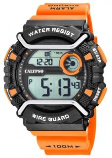 Calypso Herrenarmbanduhr Quarzuhr digital Kunststoff mit Silikonband Stoppuhr schwarz/orange K5764/1