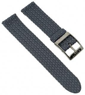 Perlonband Zweiteliges Band grau geflochten Uhrenarmband 18mm 42233S