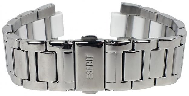 Esprit Uhrenarmband Edelstahl mit Kunststoff Band silberfarben/weiß 20mm glänzend für ES105632