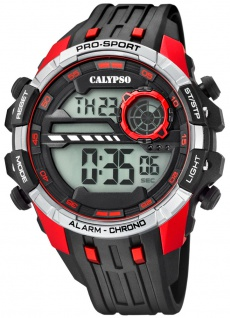 Calypso   Herrenarmbanduhr Quarzuhr Digitaluhr Kunststoffuhr mit Alarm Stoppuhr schwarz/rot K5729/4