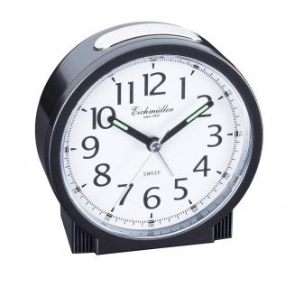 Wecker Reisewecker Alarm Analog Snooze Kunststoff schwarz rund mit schleichende Sekunde