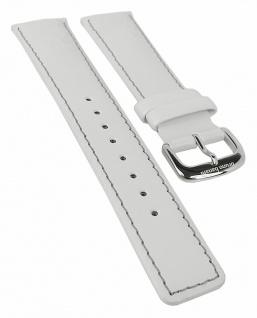 Bruno Banani Ersatzband 21mm in weiß aus Leder mit Naht mit Schließe silberfarben IN4