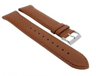 Hugo Boss | Ersatzband 22mm aus Leder, braun mit silberner Dornschließe für Armbanduhr 1513475