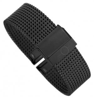 Minott Milanaise | Uhrenarmband Edelstahl Band schwarz mit verstellbarem Verschluss 30679