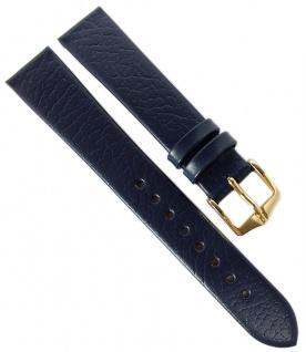 HIRSCH | Uhrenarmband > Leder, blau ohne Naht, genarbt > Dornschließe | Kurze-Länge | 36548