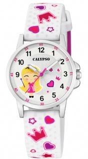 Calypso Kinderuhr analog weiß Armbanduhr Uhr Kunstoffband bunte Motive K5776/1