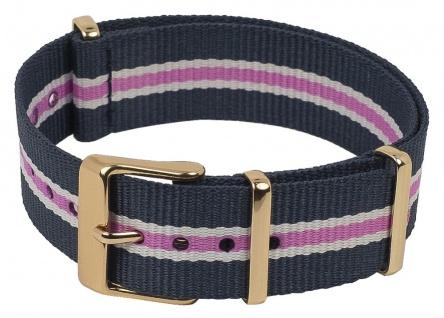 Timex Weekender Nato-Band Uhrenarmband Durchzugsband Textil Band mit Metallschlaufen 18mm blau/rosa/weiß TW2P91500