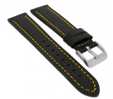 Minott Ersatzband in Carbonlook aus Leder in schwarz mit gelber Naht Easy Click > 33069