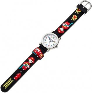 Eichmüller Kinderuhr analog Uhr schwarz Armbanduhr Edelstahl Silikon Feuerwehrmuster 34976