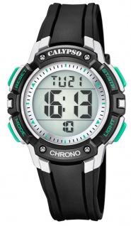 Calypso Kinderarmbanduhr Quarz Digital Kunststoff schwarz mit 2. Zeitzone Alarm Stoppfunktion K5739/3