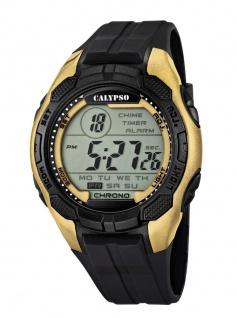 Calypso Armbanduhr Herrenuhr Digitaluhr Chrono schwarz/Golden 10 ATM K5627/6
