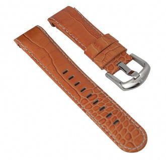 Uhrenarmband Leder Band orange mit Kontrastnaht 24mm passend zu Uhren mit ? 48mm TW STEEL TW-53 TW-51