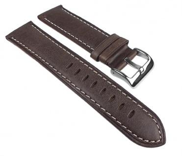 Vintage Look Uhrenarmband Leder Band Dunkelbraun 25272S