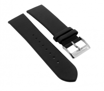 Junghans Milano Solar | Ersatzband 20mm | Leder Band glatt schwarz für 014/4060
