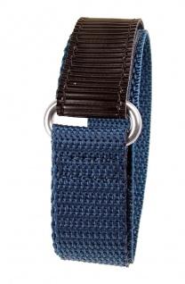Minott Uhrenarmband Textilband Klettband Schwarz/Blau 18mm 19138
